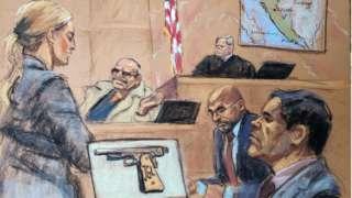 Drawing showing courtroom with witness Jesus Zambada and Joaquin 'El Chapo' Guzman