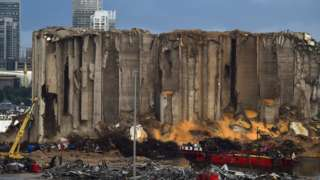 File photo from 4 November 2020 showing the silos at Beirut's port, which were destroyed by an explosion on 4 August