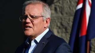 Australian Prime Minister Scott Morrison speaks to the media during a press conference at Kirribilli House in Sydney, Australia, 19 September 2021.