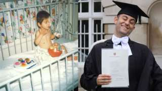 Allan as a baby and at graduation