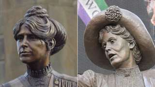 statues of Annie Kenney and Emmeline Pankhurst