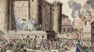 Illustration of citizens of Paris, headed by the National Guards, storming the Bastille prison on 14 July 1789