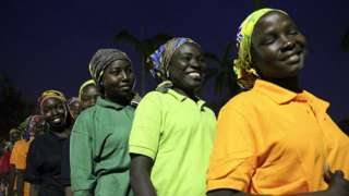 Some of the released Chibok girls. File photo