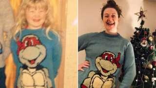 Hannah George wearing her Teenage Mutant Ninja Turtle jumpers aged three and 33