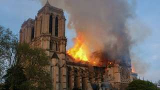 The Notre-Dame Cathedral on fire in April 2019