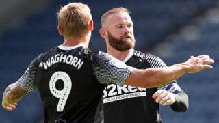 Derby celebrate Wayne Rooney's goal at Preston
