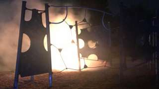 Play equipment on fire