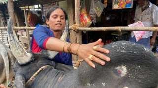 'வீரத் தமிழச்சி விஜி' தன் காளையுடன்.