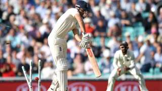 Alastair Cook is dismissed in the fifth Test