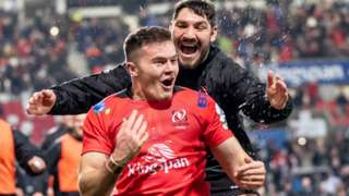 Ulster's Jacob Stockdale celebrates his try with Tom O'Toole