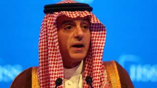 "Saudi Arabia""s Foreign Minister Adel bin Ahmed Al-Jubeir speaks during the second day of a conference in Manama, Bahrain."