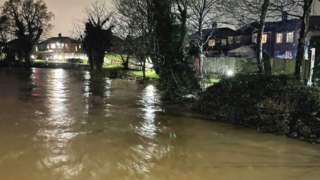 High river levels on the Mersey in Didsbury on 20 January 2021