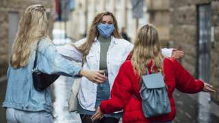 Students in face masks in Newcastle