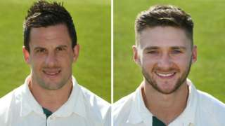 Nottinghamshire's two centurions Steven Mullaney (left) and Joe Clarke