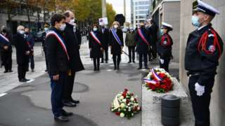 French senior politicians honouring victims at Stade de France, 13 Nov 20