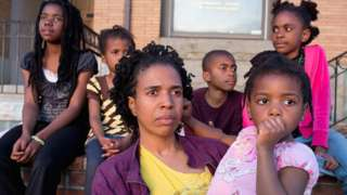 African-American family in US city of Baltimore