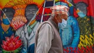 Graffiti wall dedicated to frontline workers in Nepal's capital Kathmandu