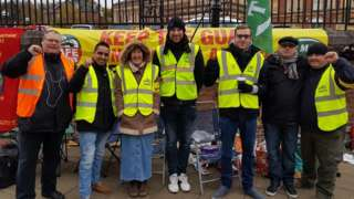 RMT Greater Anglia picket at Norwich station.