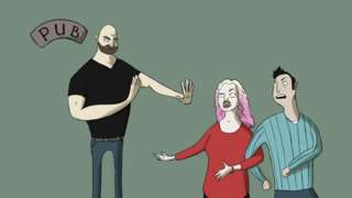 Cartoon of Ruby being rejected from pub by bouncer