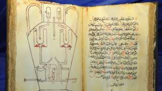 The Book of Ingenious Devices, large illustrated work on mechanical devices published in 850 by by the three Banu Musa brothers, from Iran, who were working at the House of Wisdom in Baghdad