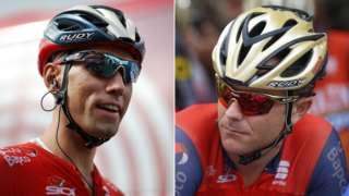 A split image of Slovenian cyclists Kristijan Koren (left) and Borut Bozic (right)