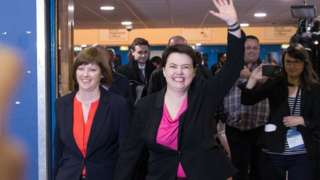 Ruth Davidson and her partner Jen Wilson arrive to hear the declaration for her seat at the Royal Highland Centre, Ingliston, on May 6, 2016 in Edinburgh, Scotland.