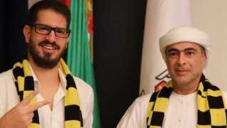Al Nahyan (right) poses with a Beitar Jerusalem shirt alongside club owner Moshe Hogeg