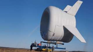 Altaeros' Buoyant Airborne Turbine about to launch