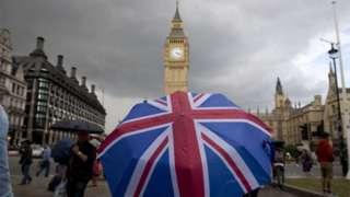 Union Jack umbrella in front of Parliament