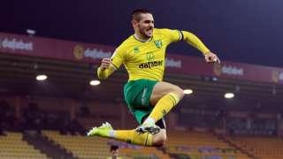 Emi Buendia celebrates scoring for Norwich City against Brentford