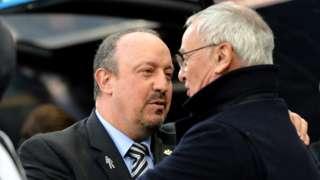 Rafael Benitez greets Claudio Ranieri in 2018