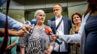 Members of the Mothers of Srebrenica speak to reporters outside the courthouse after the Supreme Court ruling in the cassation proceedings against the Dutch State, in The Hague, The Netherlands, 19 July 2019.