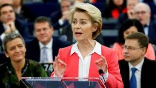 Будућа председница Европске комисије Урсула фон дер Лејен обраћа се законодавцима у Стразбуру, 27. новембар 2019.