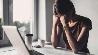 A woman in distress