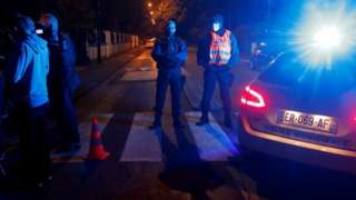 French police at the scene of the attack in the Paris suburb of Conflans-Sainte-Honorine, France. Photo: 16 October 2020.