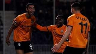 Barnet celebrate scoring against Bristol Rovers