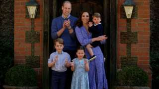 The Duke and Duchess of Cambridge with their three children Prince George (left), Princess Charlotte and Prince Louis
