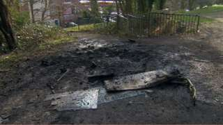Charred ground at a west Belfast park