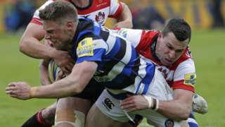 Rhys Priestland scores for Bath at Gloucester