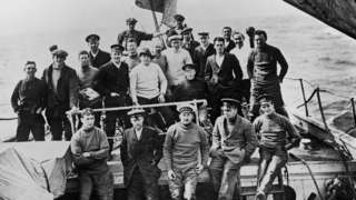 Sir Ernest Shackleton with his crew
