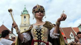 File image shows a medieval re-enactment in Bratislava