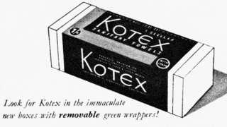 Реклама прокладок Kotex 1950-ті рр.