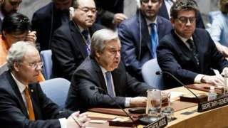 UN Secretary General Antonio Guterres presides over a Security Council meeting on Syria, 13 April 2018