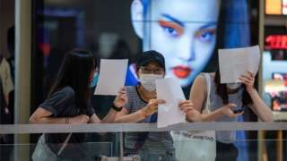 File photo of protesters in a shopping mall in Hong Kong, China, 06 July 2020.