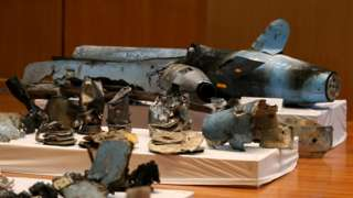 Debris from drones and missiles that Saudi Arabia says prove Iranian involvement in oil installation attacks