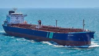 Handout file photo from Hafnia showing the Singapore-flagged oil tanker BW Rhine