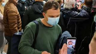 Passengers of Ryanair flight FR4978 arrive at Vilnius airport