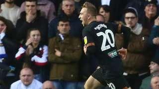 Hull's Jarrod Bowen celebrates scoring the opening goal against Leeds