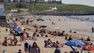Barry Island beach with crowds on 24 June, 2020