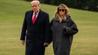 President Trump and First Lady Melania Trump arrive at the White House on 31 December 2020